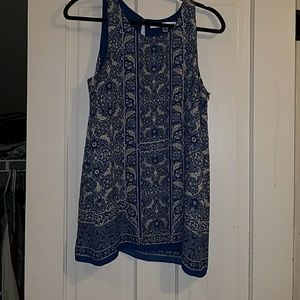 Flowing tank top very cute blue and white.